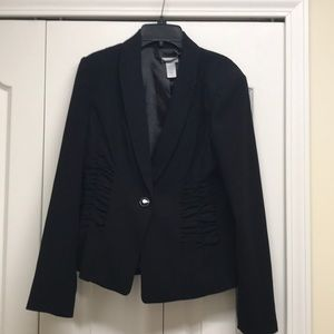 Cache black blazers with ruffles on the sides